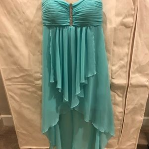 High Low Strapless Dress. Turquoise color.